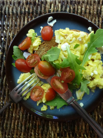 Goat Cheese and Scrambled Eggs Toast