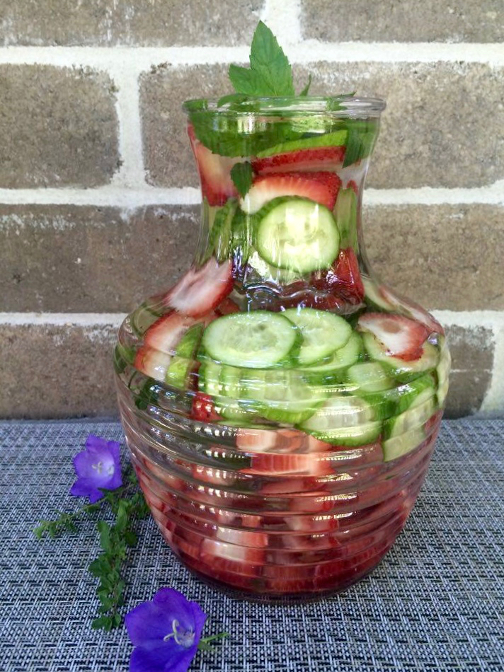 Cucumber strawberry and mint infused water