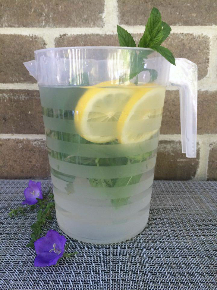Lemon mint and basil infused water